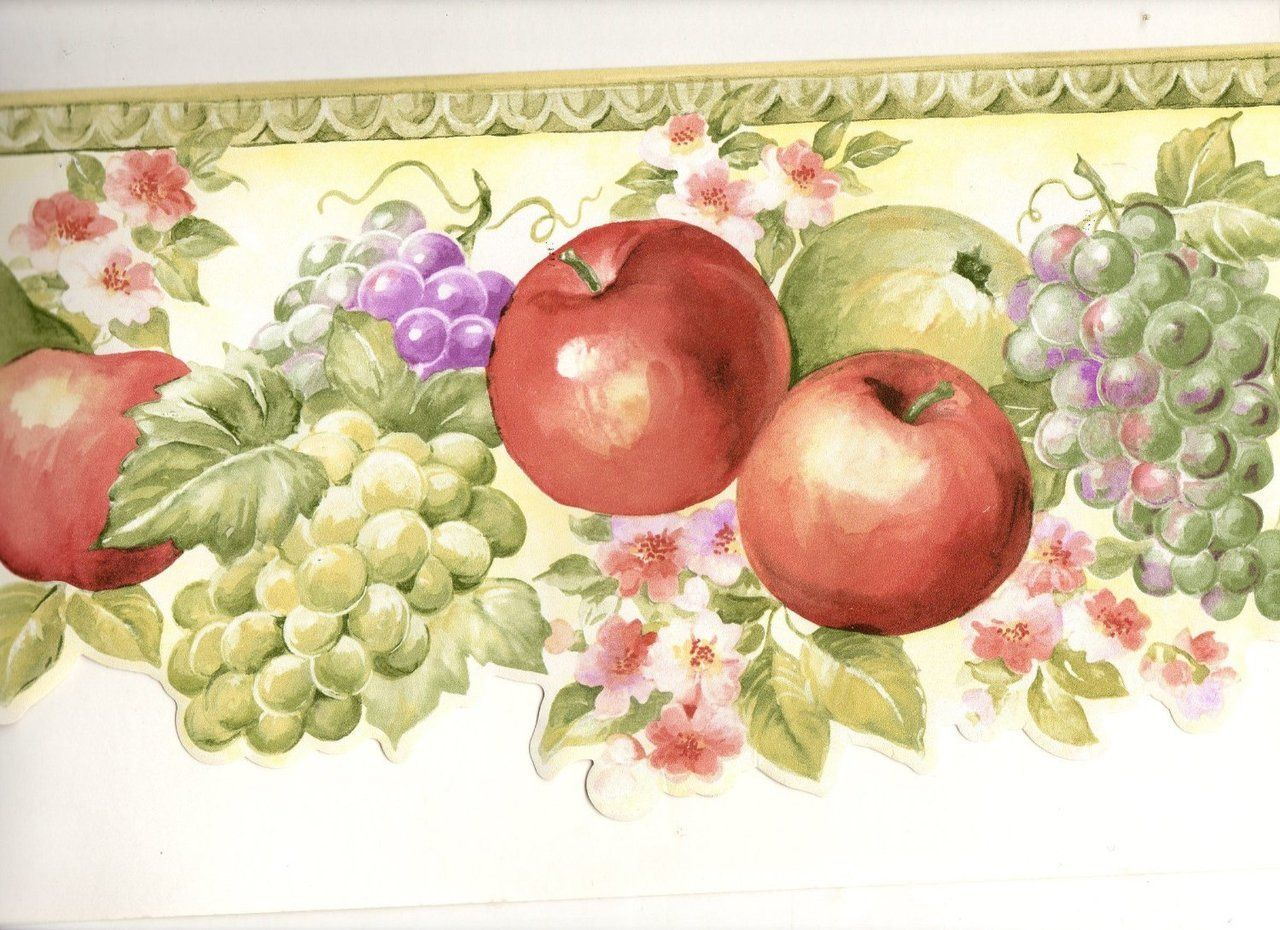 York Wallcoverings MK77674DC Norwall Happy Fruit Border