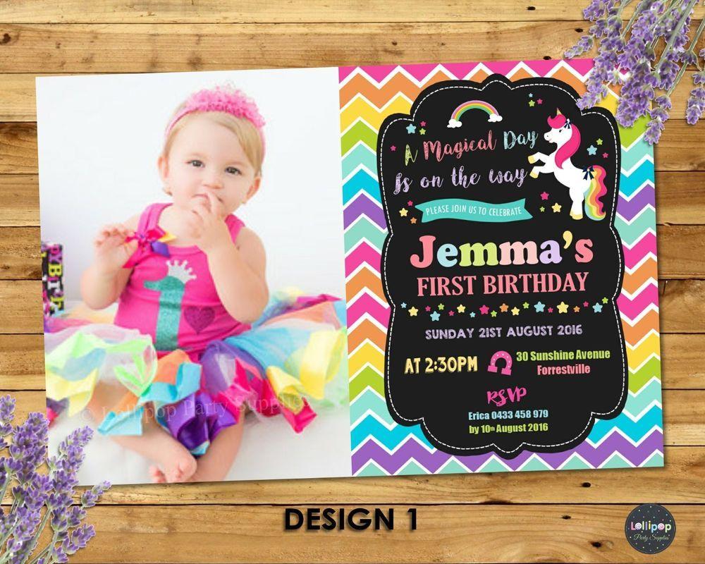 unicorn party invitation 1st first birthday invites rainbow