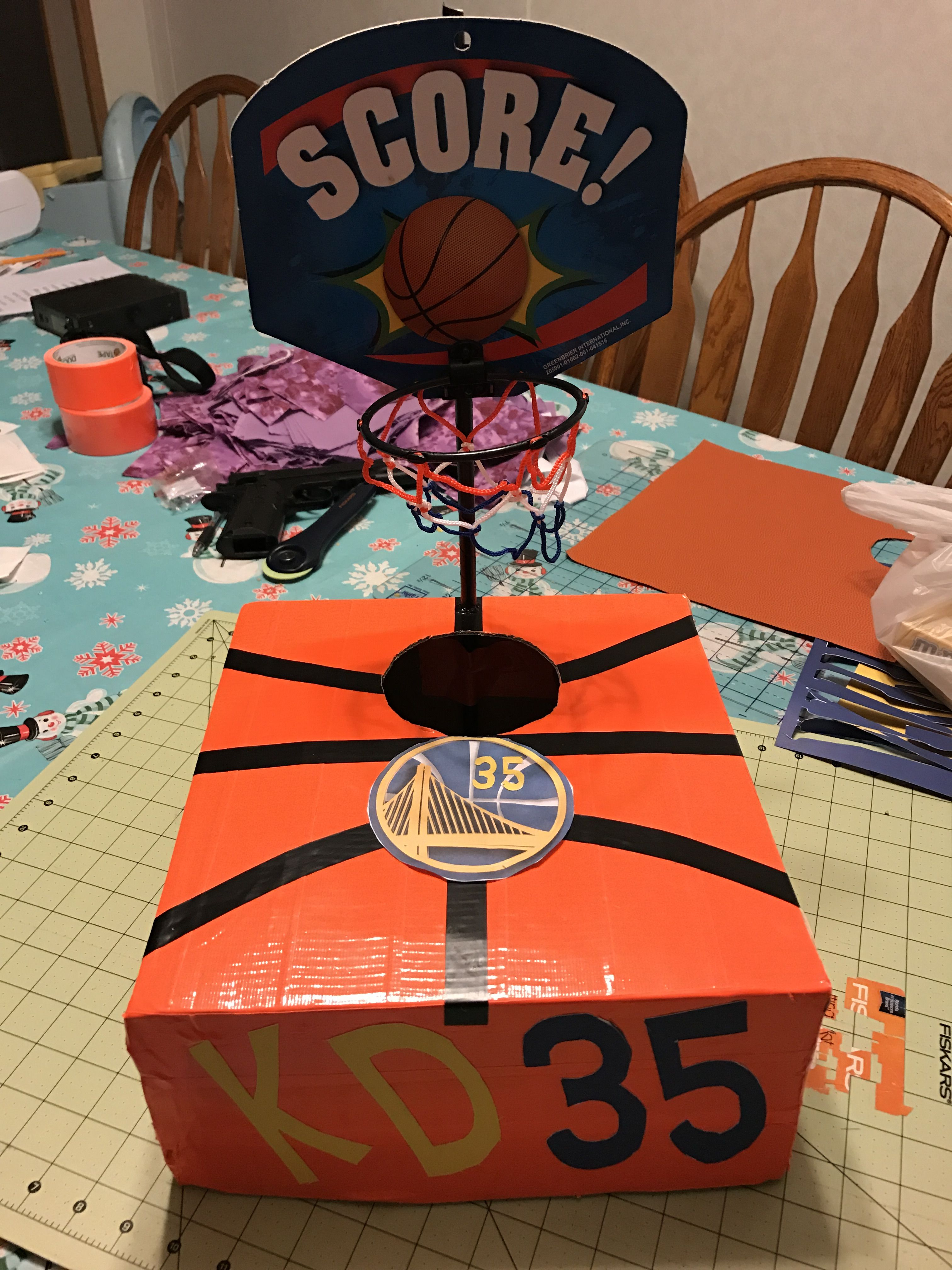Wrapped The Box With Orange Duck Tape Used Electrical Tape For The Lines Wrapped Girls Valentines Boxes Basketball Valentine Boxes Valentine Boxes For School