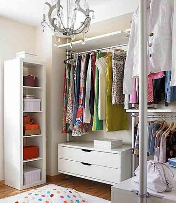 Closet pequeno para quarto pequeno 002 Ideias para a