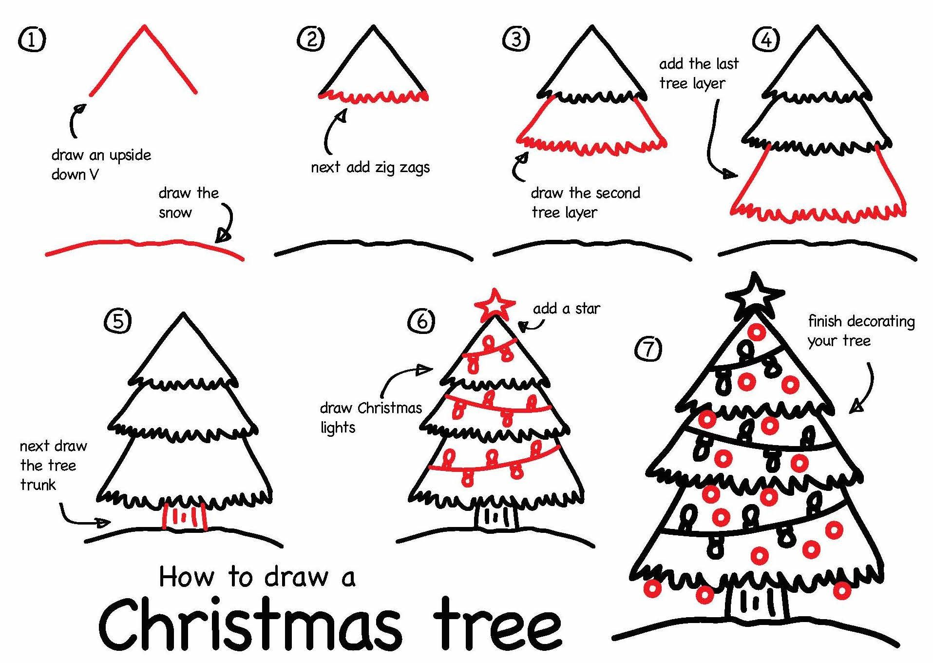 Christmas Step By Step Drawing Christmas Tree Stepstep Drawing At Getdrawings Free For Christmas Tree Drawing Art For Kids Hub Christmas Tree Art