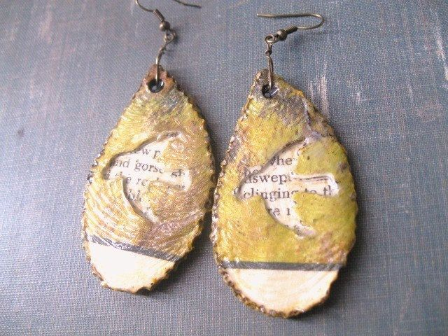 Paper Jewelry - Rustic Bird Earrings - Woodland Jewelry by Paper Memoirs on Etsy.  Interesting technique, the wordpeeking through a cut out opening.... painted on the front?  or is that a page that had an image already on there?