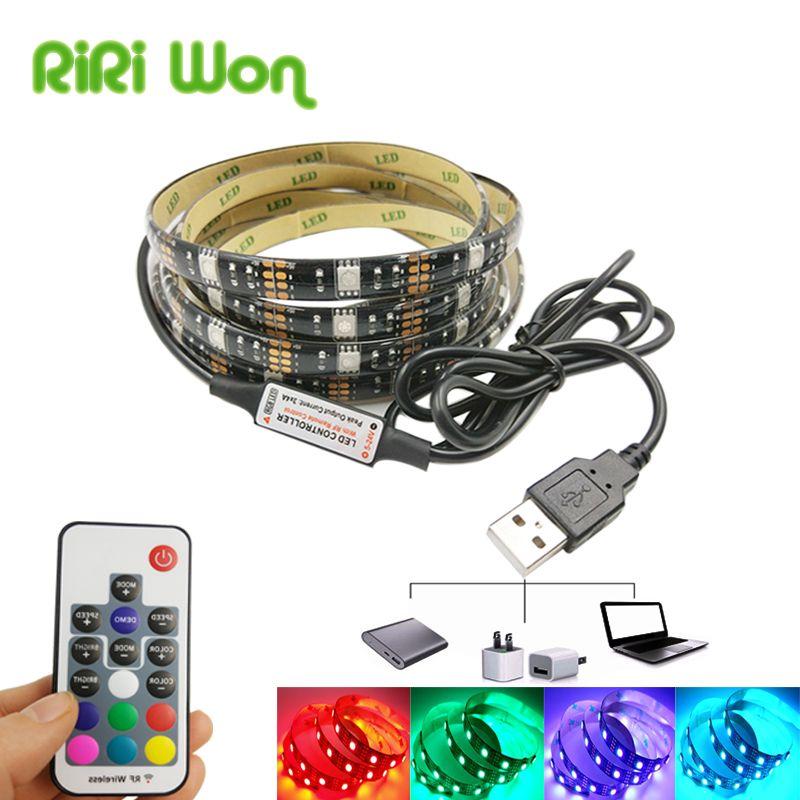 1m 2m 5m USB 5050 RGB LED Strip 30led//m TV Backlight 17key Remote Controller 5V