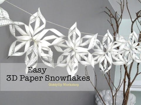 snowflake template youtube  How to make a large 7D paper snowflake step by step ...