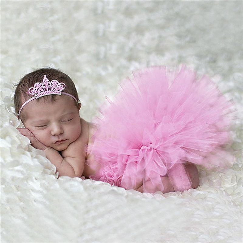 Beautiful newborn baby photography props flower tiara headband tutu dress handmade 9 colors