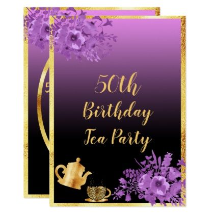 50th Birthday Tea Party Invitation Black Purple