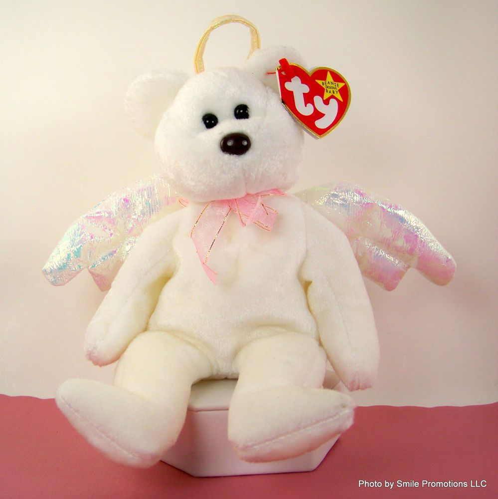 Ty Beanie Babies Collection HALO White ANGEL Bear Wings Pink Bow Halo w Tag   Ty 8c00c5e2e9b5