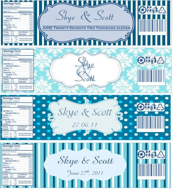Water bottle labels now with templates wedding blue for Mineral water label template