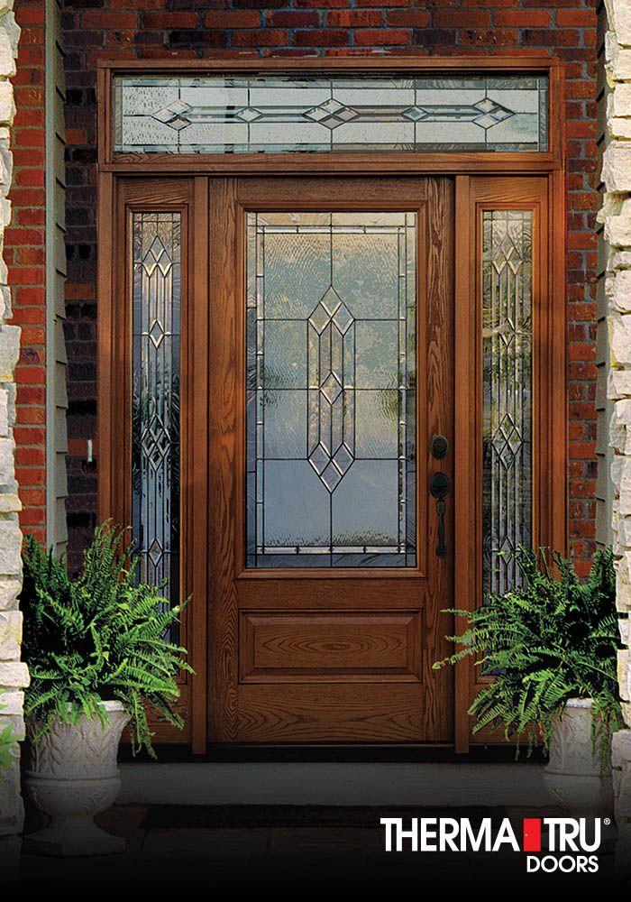 Therma Tru Clic Craft Oak Collection Fibergl Door With Provincial Decorative Gl
