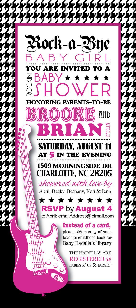 Rock and Roll Baby Shower - Girls Rock Invitation (and envelope ...
