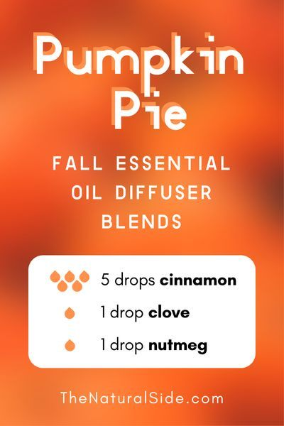 11 Fall Essential Oil Diffuser Blends to Warm Your Home Up Pumpkin Pie  5 drops Cinnamon  1 drop Clove  1 drop Nutmeg  Essential Oils Recipes via