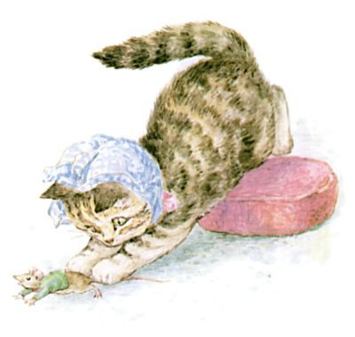 The Story of Miss Moppet - Miss Moppet jumps upon the Mouse!