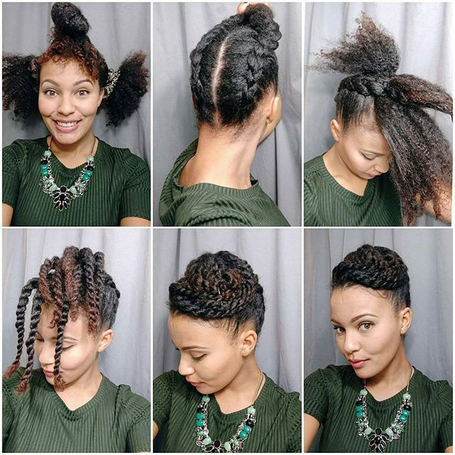 Regrann From Simplystasia Twisted Updo Time 1 Separate Hair Into Three Sections 2 Natural Hair Updo Natural Hair Styles Medium Length Hair Styles