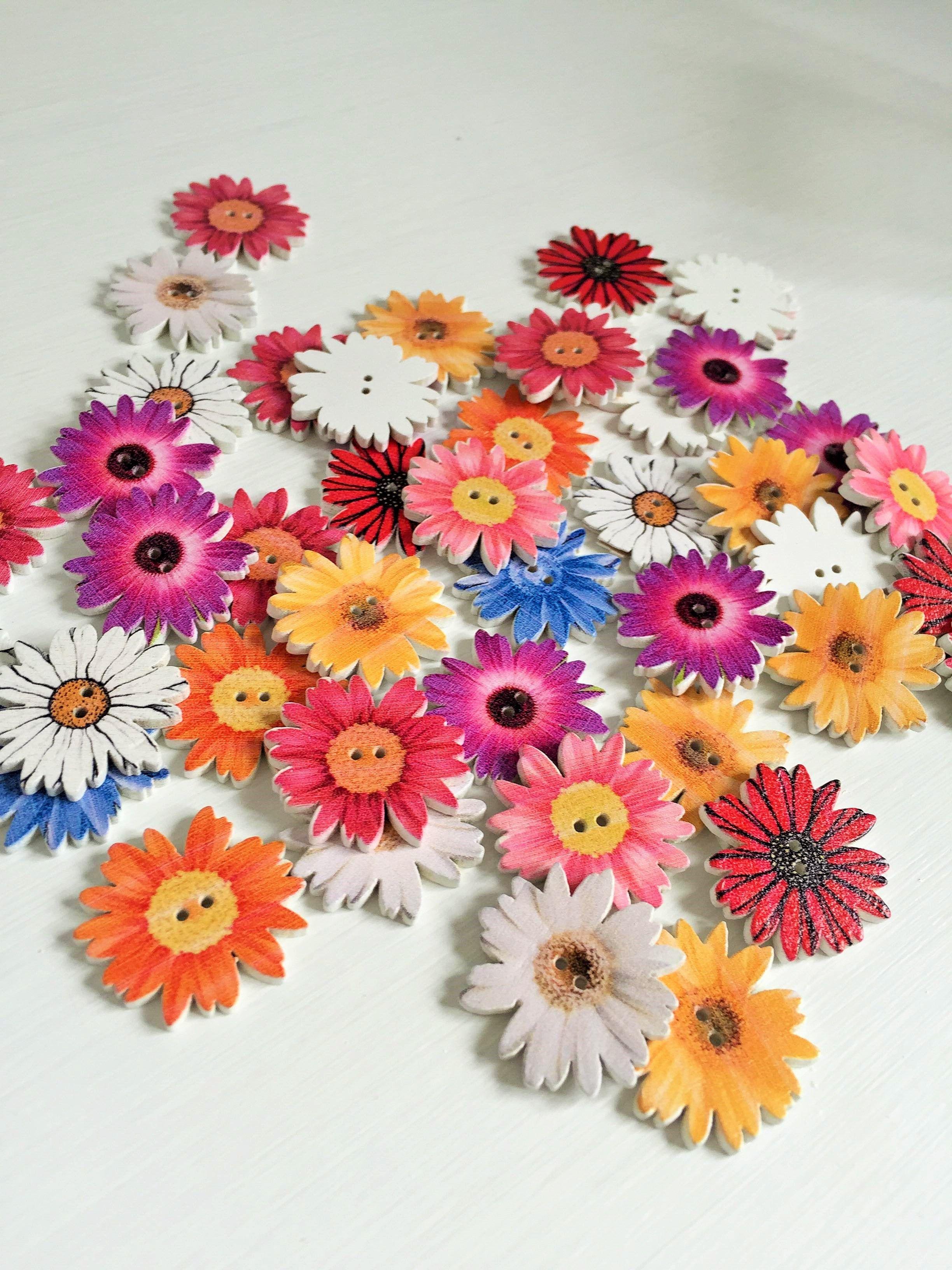 Sunflower Random Mixed Flower Painted Wooden Buttons