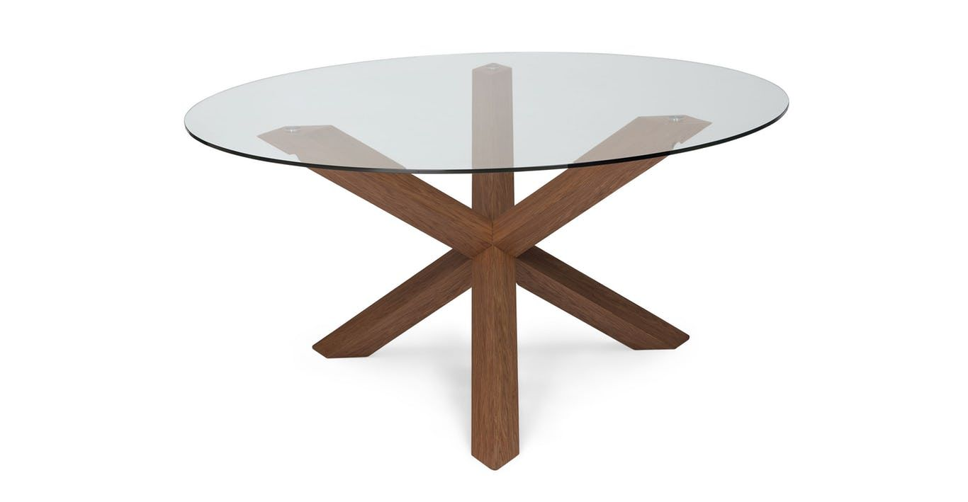 Trina Walnut Dining Table Midcentury Modern Dining Table Glass