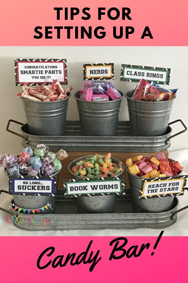Tips for setting up a candy bar is part of Graduation party candy, Graduation party foods, Graduation party favors, Graduation candy, Graduation party themes, Graduation party high - Are you wanting to have a candy bar at your next special occasion, but not sure what you'll need for it  Want to know how much candy to buy and where to buy it from  Candy bars are great display piece at your party and it doubles as the favors for your guests  After many candy bar set ups we've figured out a few things  Here are some helpful tips to help you create your next candy bar Decide on the theme of the candy   guest of honor's favorites, Halloween, Graduation, party theme colors, etc  Figure out how many guests you'll have at your event  Candy Warehouse recommends about 8 oz  of candy per guest  Use containers with wide openings so it's easy for your guests to scoop out candy  Boxes or books to create different heights for the candy containers to sit on  Filler for large containers  We use rolls of brown kraft paper  You can tear it, scrunch it up and put it into your container to take up space so you don't have to buy so much candy  Scoopers and tongs, for guests to get candy Bags or boxes for guests to take candy home Napkins (if you have any dessert type options like brownies, cupcakes, etc ) Fun labels for the candy  Sign or banner to guide people over to your candy bar  We hope our tips have given you help in setting up your candy bar for your next special occasion!