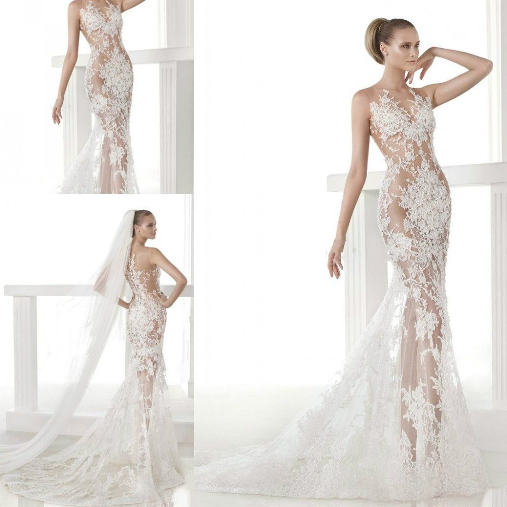 Find This Pin And More On Fashion Wedding Dress New Arrival Vogue Sheer See Through Lace