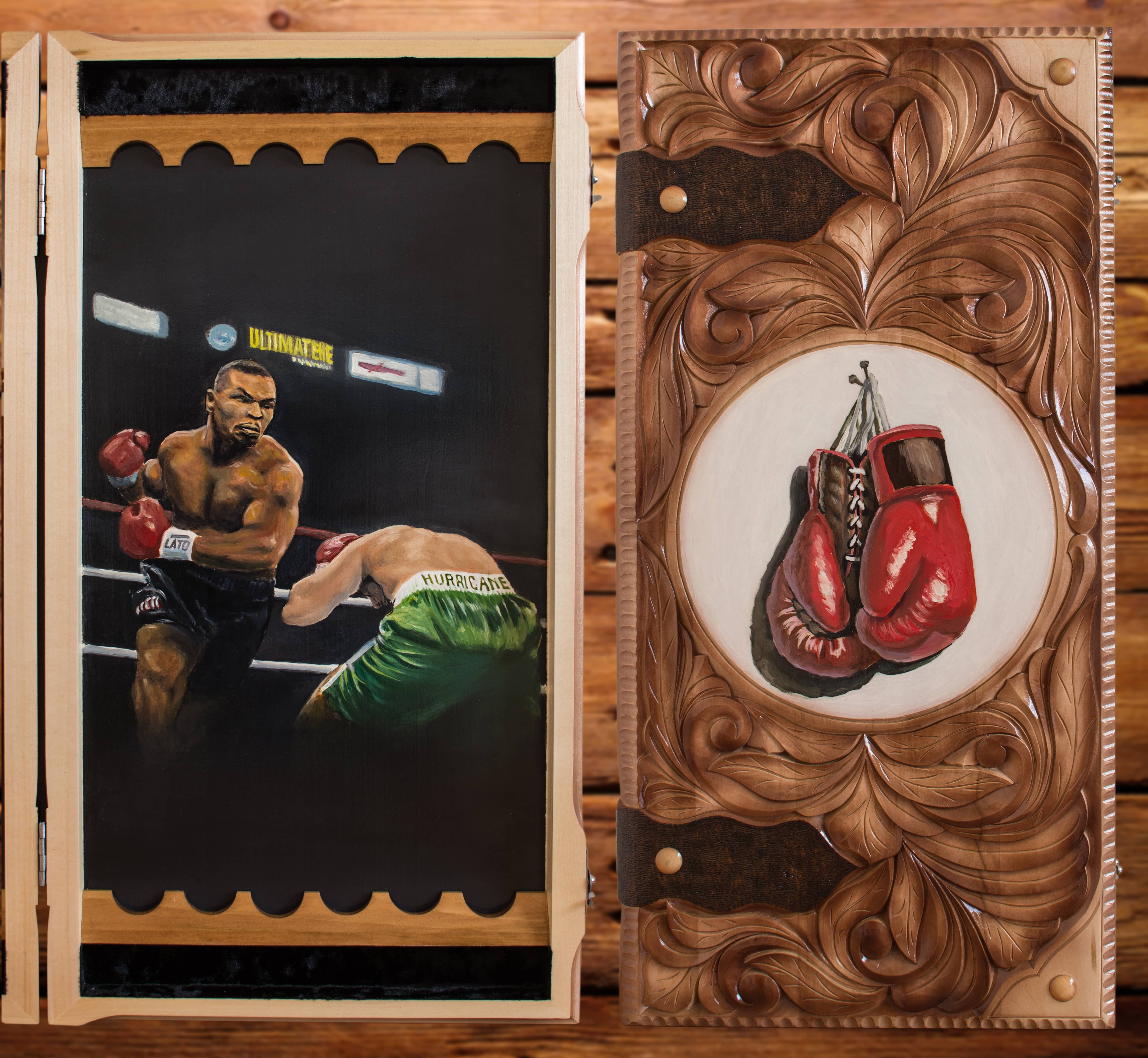 """Backgammon in the form of book """"Ali and Tyson"""". There are images of the boxing gloves on the front part made by artist. Image of the fights scenes with Ali and Tayson in the inside. The set consists of backgammon, 2x dice cups and chips. All by handmade. $146,99 (isn't including shipping) #backgammon #carved #art #handmade #ali #tayson #book #fighting #naturalwood #boxing #russian_handmade #buringwood #linden #backgammonset #game #boardgame #design #set"""