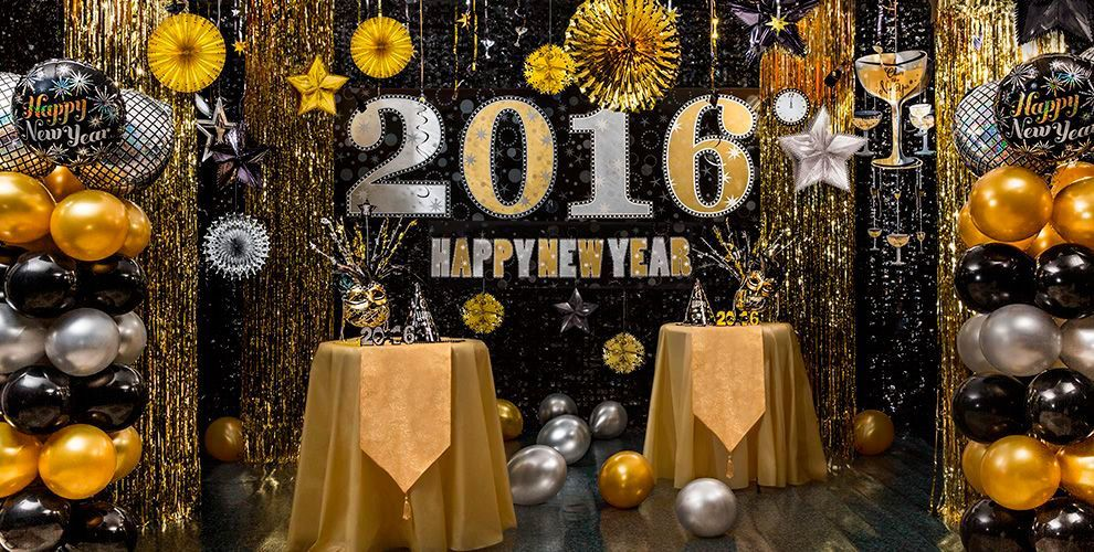 Black Gold Silver New Year New Years Eve Decorations Black Party Decorations New Year S Party Decorations