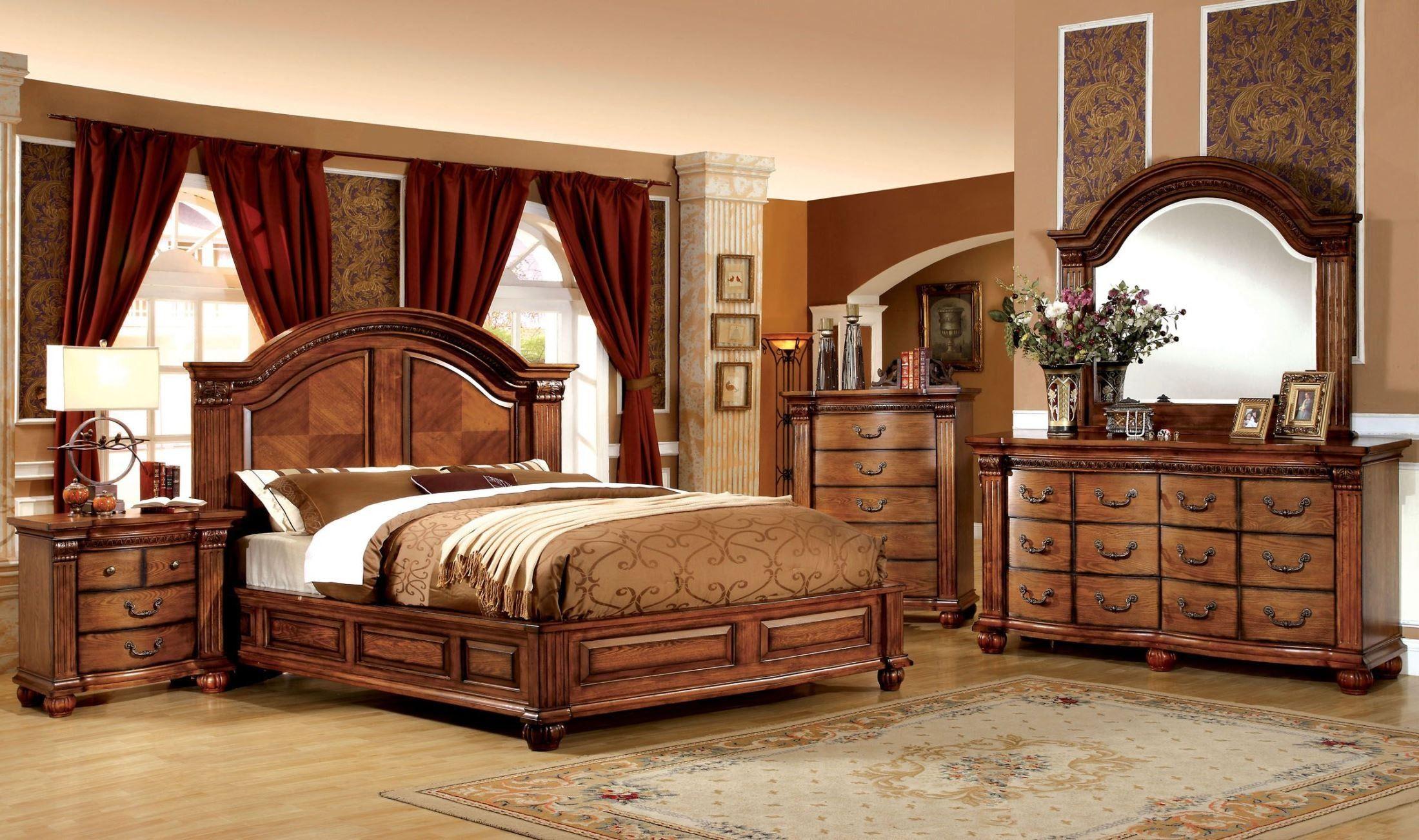 Bellagrand Antique Tobacco Oak Bedroom Set Wood Bedroom Sets King Bedroom Sets Bedroom Furniture Sets