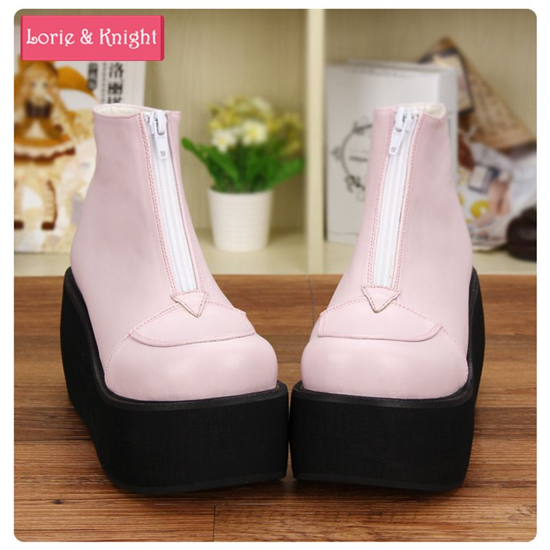 79ea018e75a Japanese Harajuku Thick Heel Platform Wedge Lolita Cos Punk Boots for Girls  PINK RED