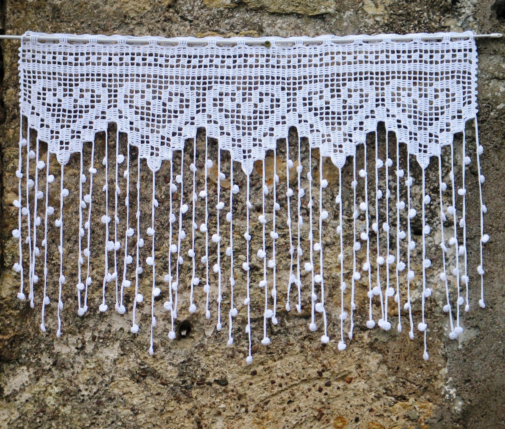 rideau blanc en filet de crochet pour