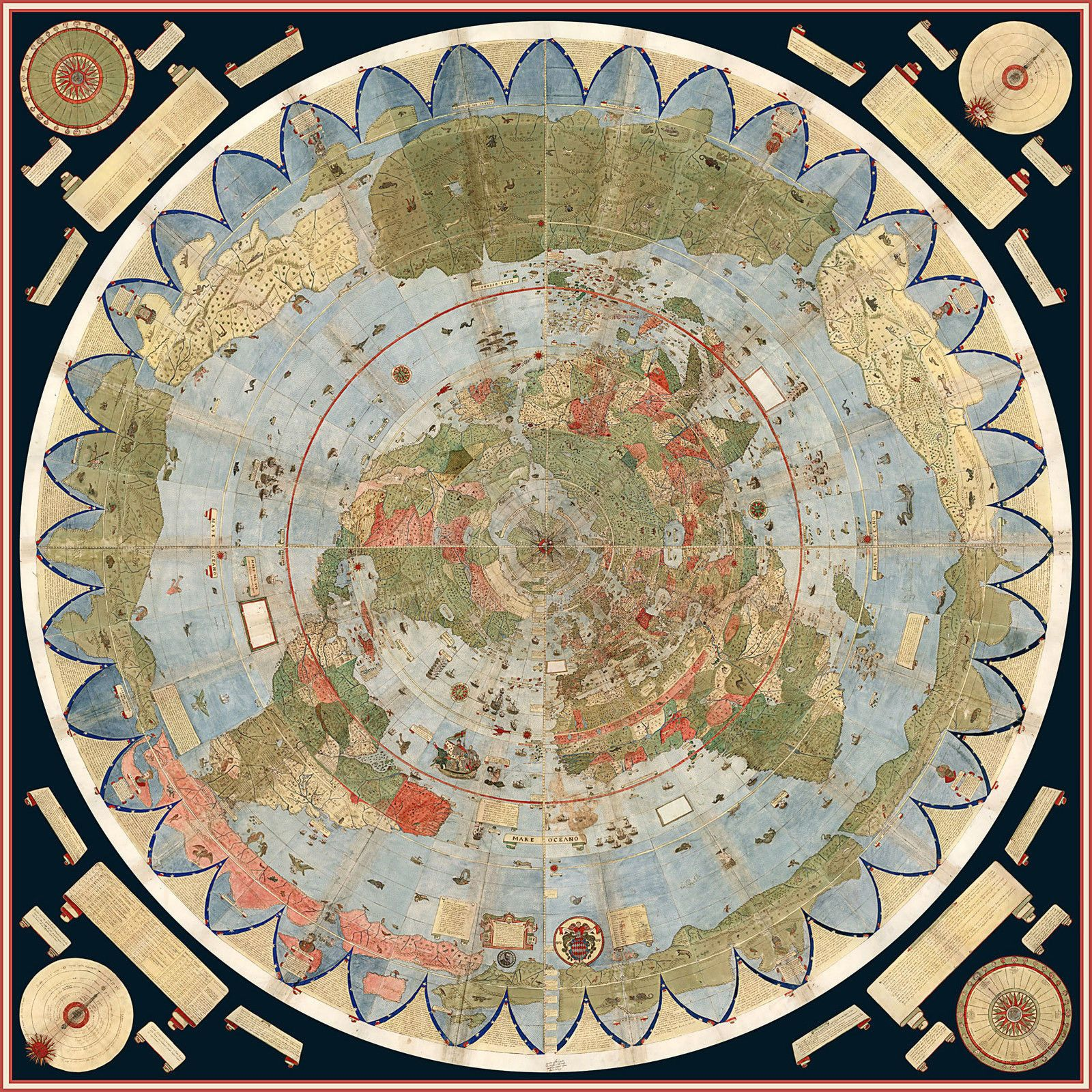 Details about 1587 Flat Earth Map of the World Urbano Monte
