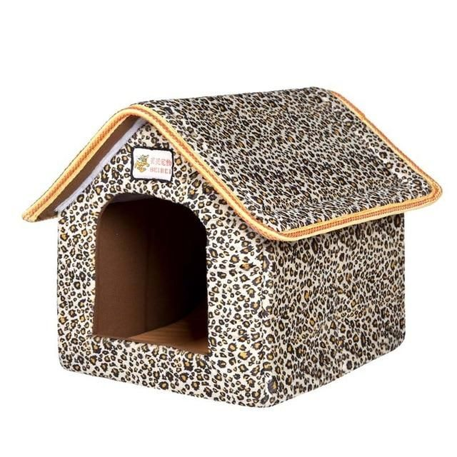 Soft Foldable Indoor Dog House with Mat for Small and