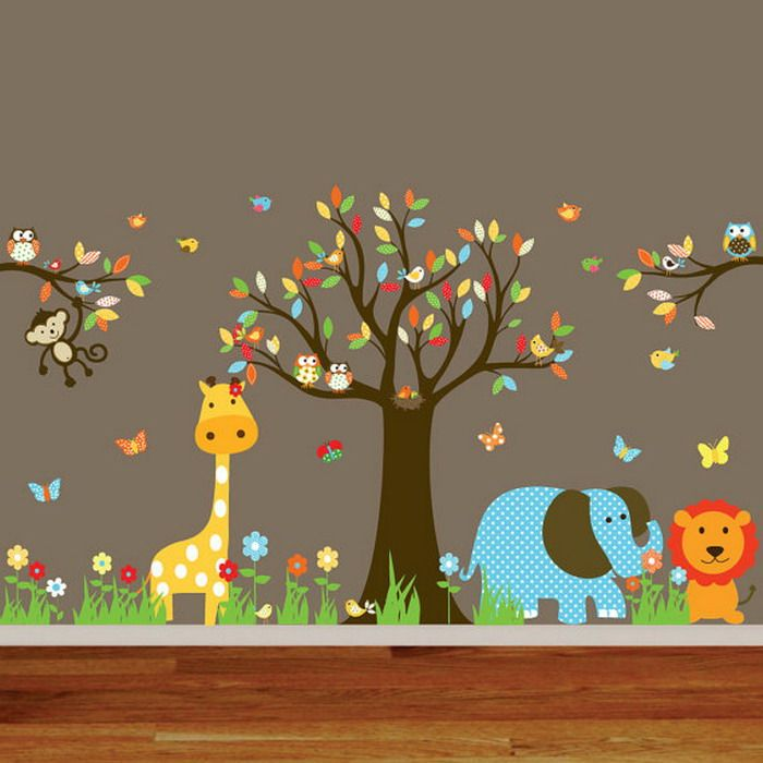 Animal Wall Mural for Nursery Room Decor - Wallpaper Mural ...