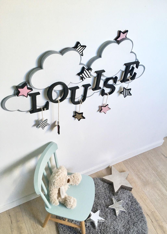 Décoration prénom lettre bébé nuage étoile : Décoration pour enfants ...