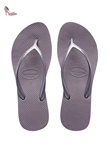 Havaianas Damen Slim Logo Metallic Zehentrenner, Beige (Sand Grey/Light Golden), 43/44 EU (41/42 BR)