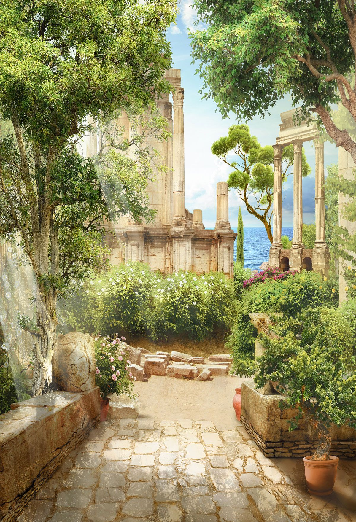 Kate Ancient Greek Courtyard Myths Backdrop | Gardens in