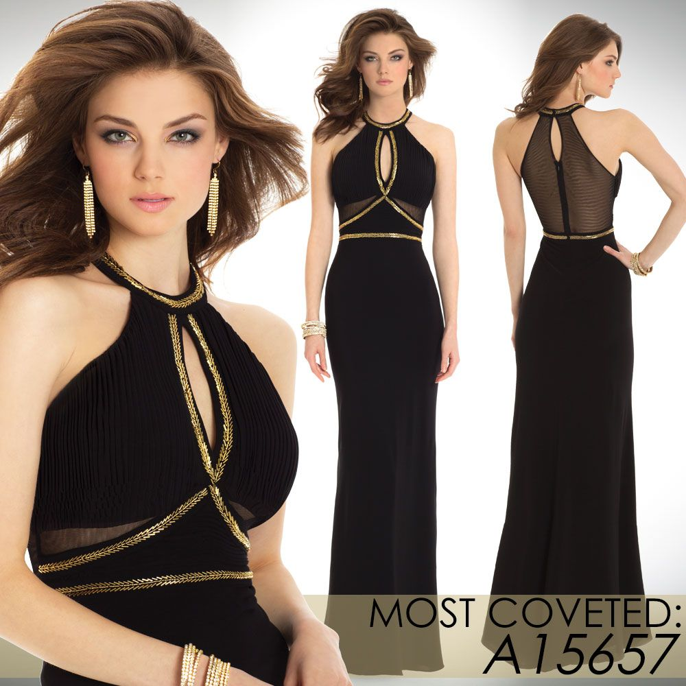 Camille La Vie Holiday Black & Gold Long Dress Evening Gown ...