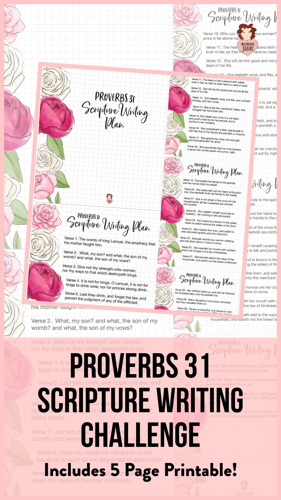Proverbs 31 Women Free Scripture Writing Plan