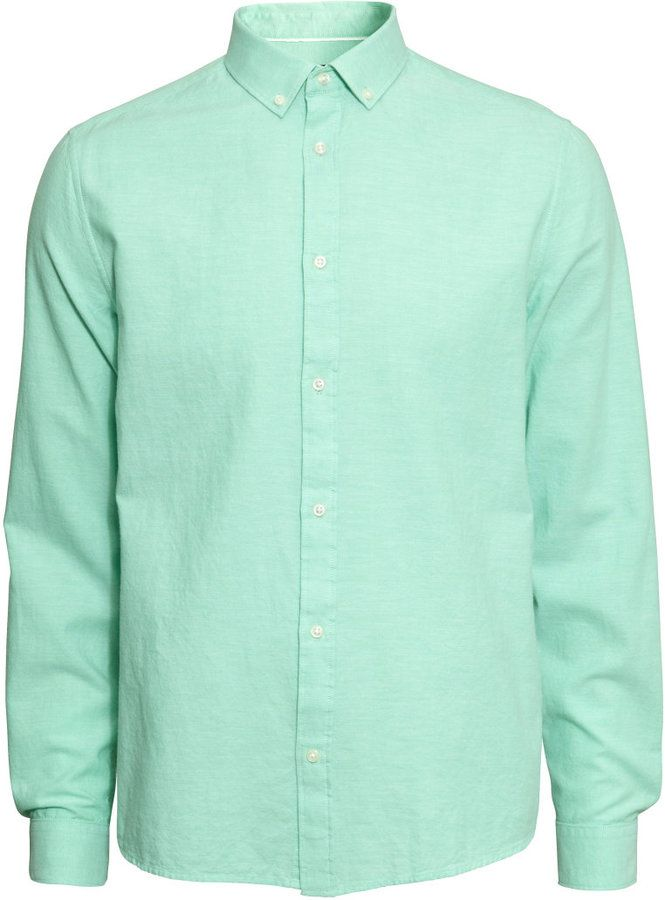 H&M - Oxford Shirt - Mint green - Men - click to check out the ...