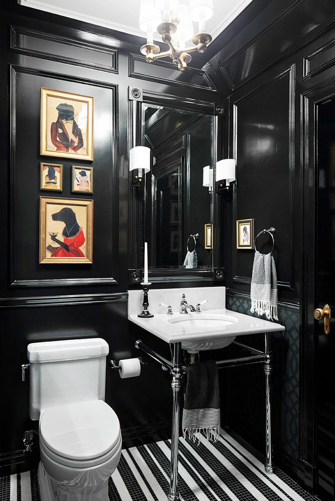 Powder Room Art Ideas Powder Room Traditional With Framed Wall Art Wall Mirror Dark Colors Tiny Bathrooms Small Bathroom Remodel Tiny Powder Rooms