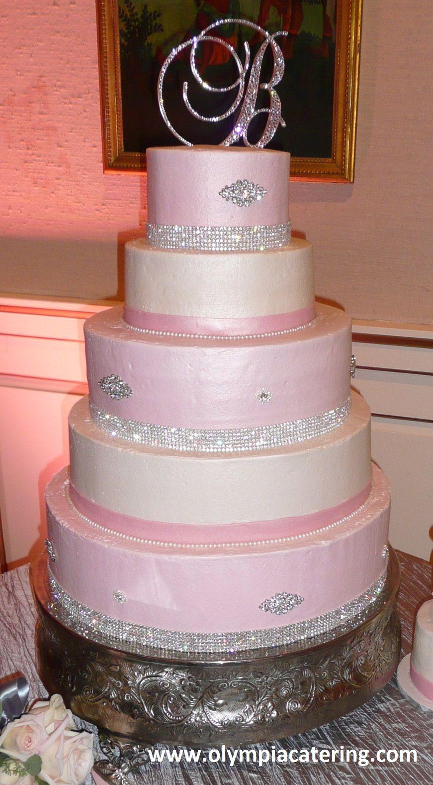 Round Wedding Cake, Light Pink and White Icing, Diamond ...