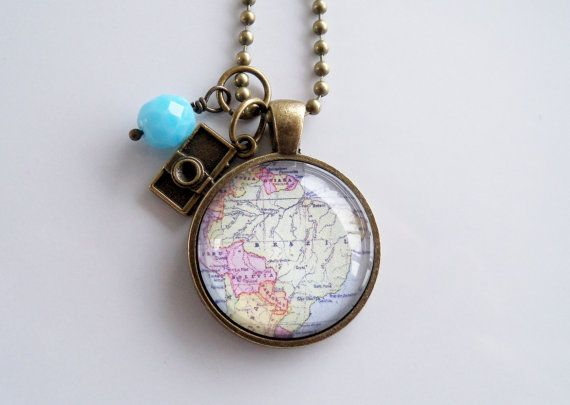 Map of brazil south america pendant necklace by oxfordbright map of brazil south america pendant necklace by oxfordbright jewelry etsy aloadofball Gallery