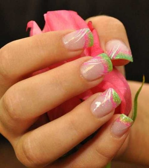 Spring Inspired Acrylic Nail Designs With French Style
