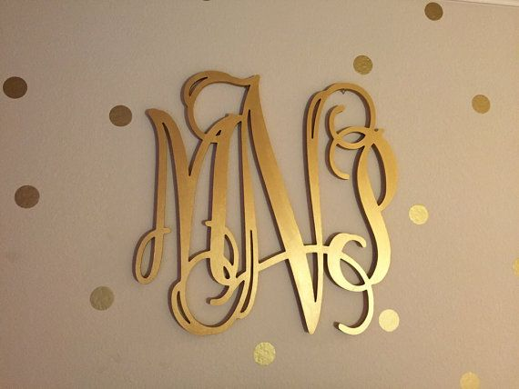 Gold wooden monogram wall hanging letters monogram for Gold wall decor letters