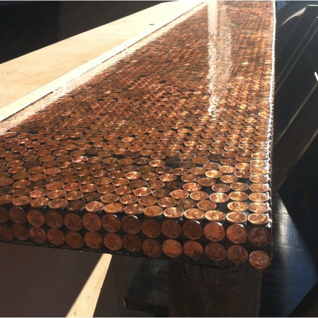 Diy penny bar table but use beer bottle caps awesome for Beer cap bar top