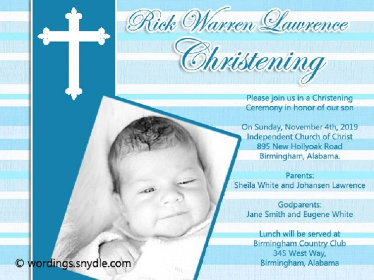 Baptism Invitation Wording With Godparents Names Baptism