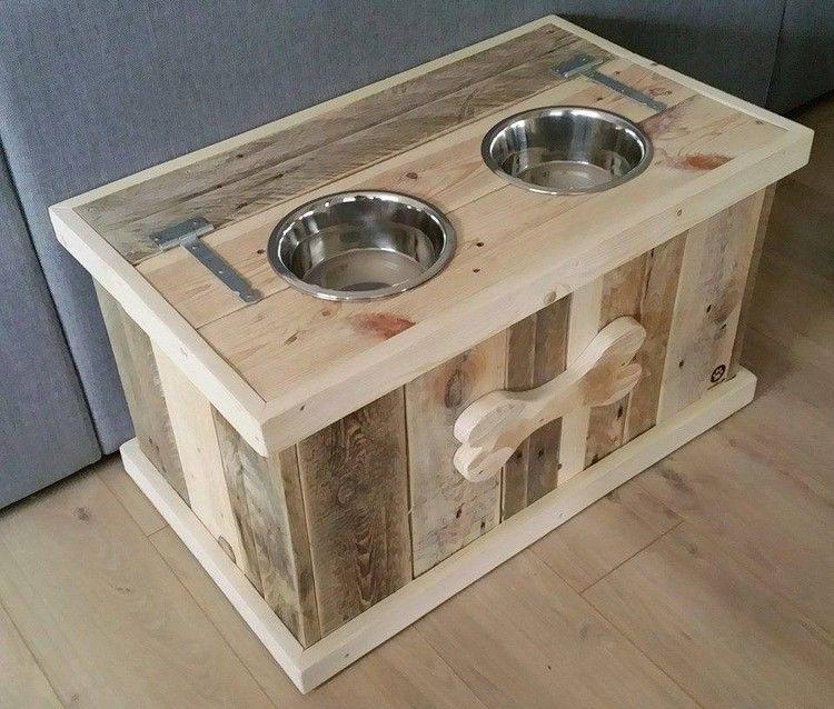 Diy Pallet Dog Bowl Stand