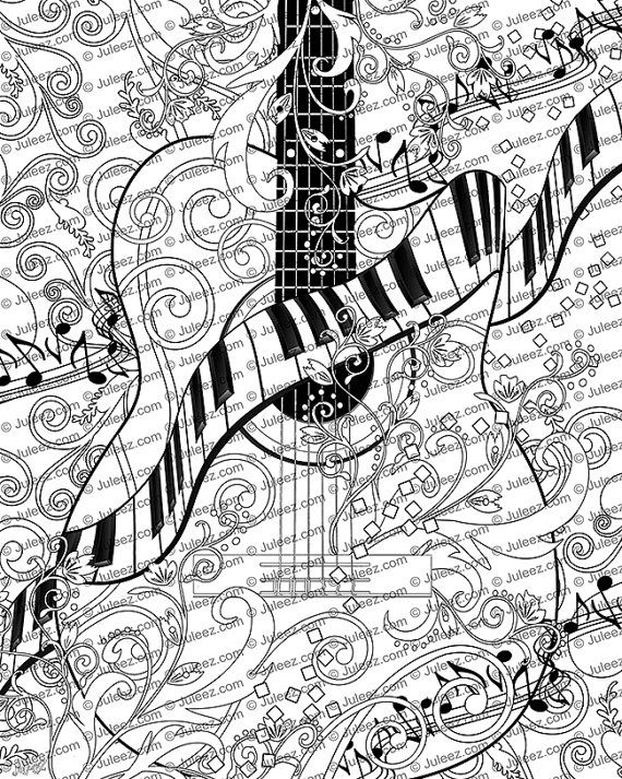 Adult Coloring Page, Printable Adult Guitar Coloring Poster, Piano ...