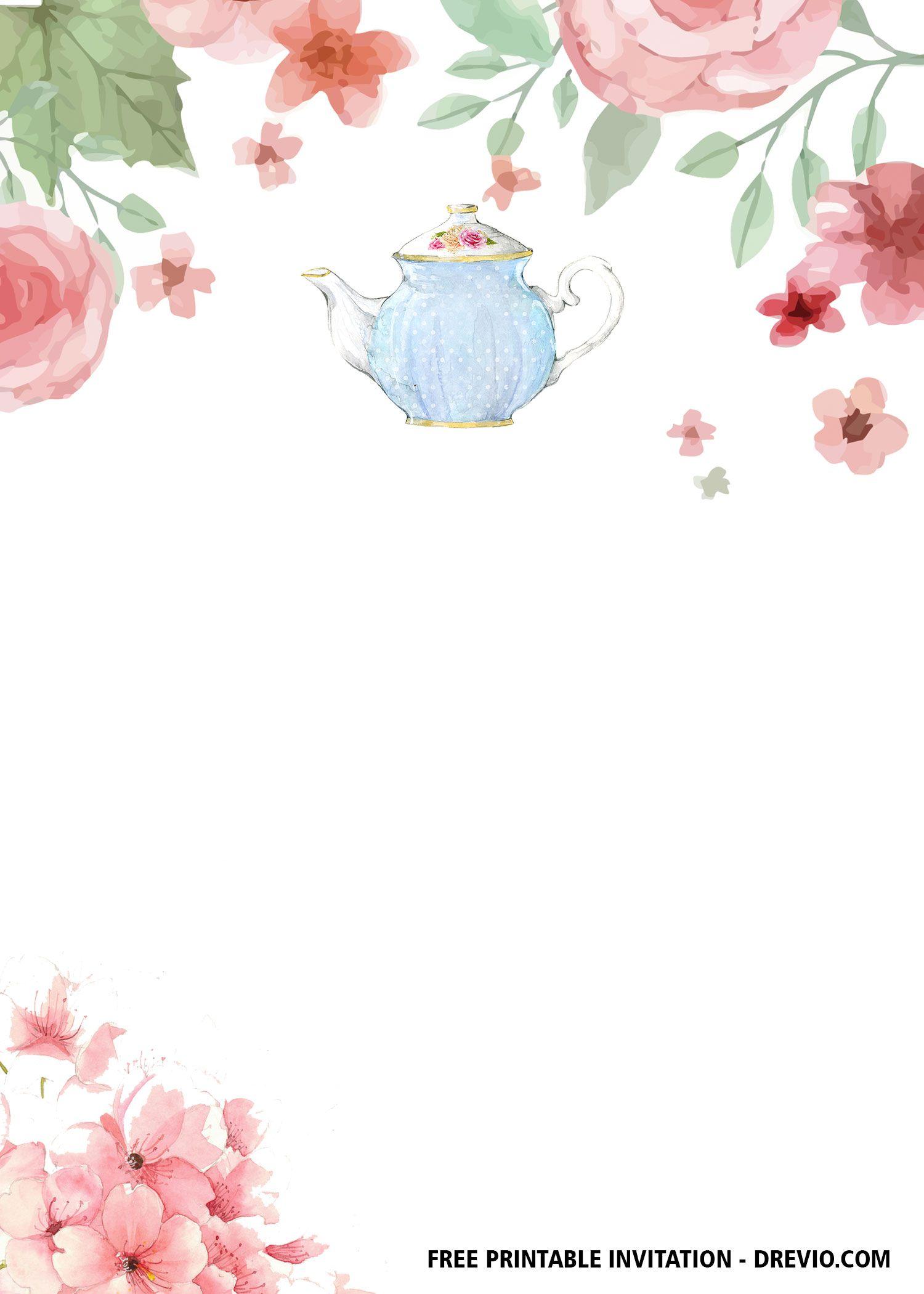 Free Floral Tea Party Invitation Templates Tea Party Invitations Party Invite Template Tea Party