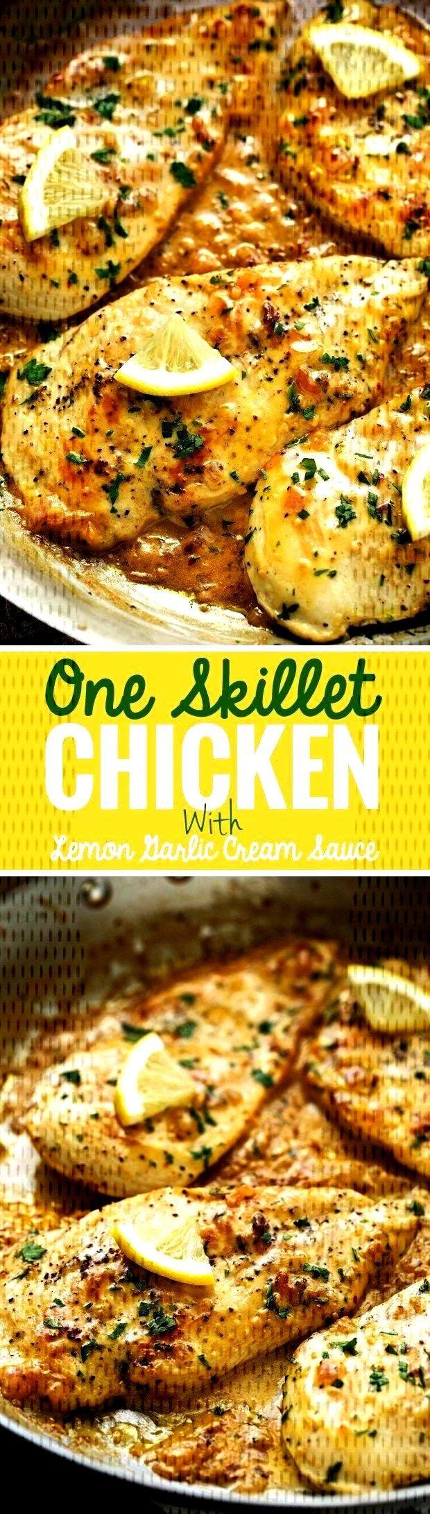 Skillet Chicken with Lemon Garlic Cream Sauce Recipe | Little Spice Jar  - Food and Drink -One Skil