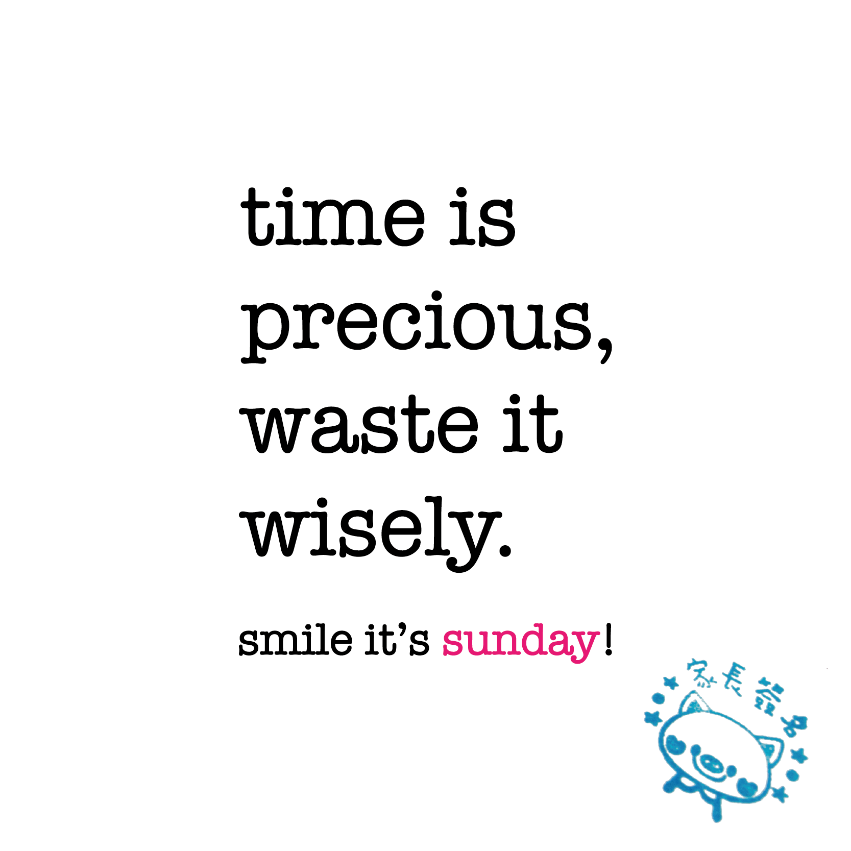 time is precious, waste it wisely. sunday quote  www.niceandnesty.com  More...