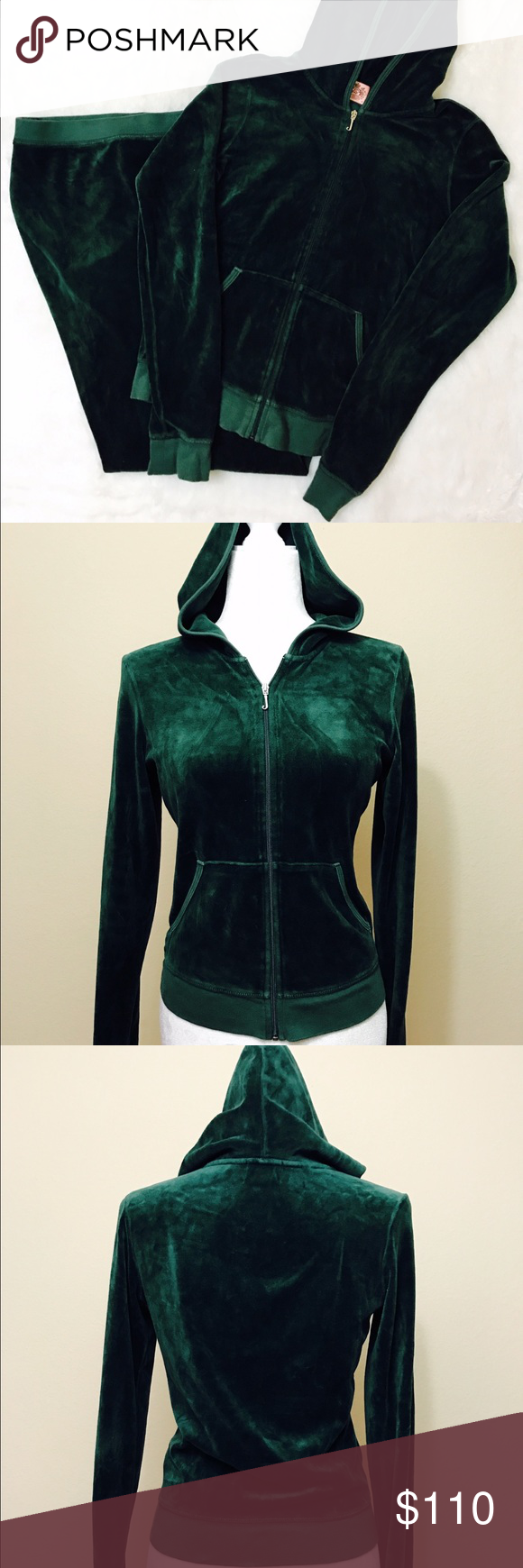 Juicy Couture dark green velvet velour tracksuit Great condition Juicy Couture Pants