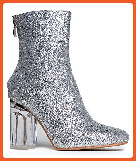 Glittery High Heel Ankle Bootie - Round Closed Toe Ankle High - Stylish Clear High Heel - Boots for women (*Amazon Partner-Link)