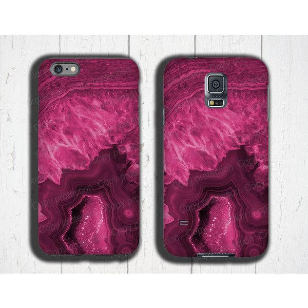Agate stone iPhone 6s Case magenta crystal iPhone 5 Ccase Gemstone... ($20) ❤ liked on Polyvore featuring accessories, tech accessories, apple iphone case, iphone cover case, samsung, crystal iphone case and iphone cases